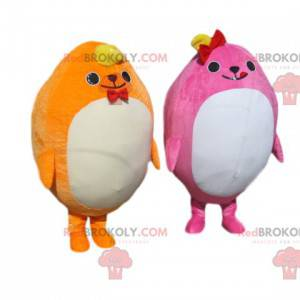 Pralles gelbes und rosa Maskottchen-Duo - Redbrokoly.com