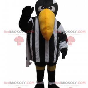 Havraní maskot s černým a bílým sportovním oblečením -