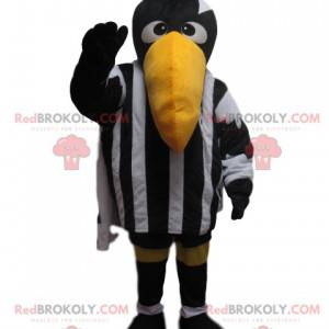 Mascote Raven com roupa esportiva em preto e branco -