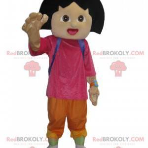 Dora Maskottchen mit ihrem lustigen lila Rucksack -