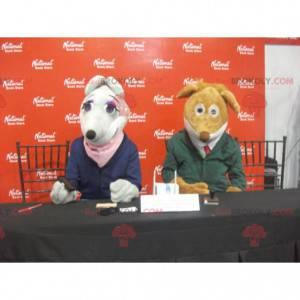 2 Maskottchen: eine graue Maus und ein brauner Hund -