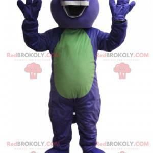 Lilla og grønn dinosaur maskot. Dinosaur kostyme -