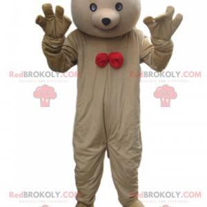 Medvěd maskot béžový s červeným motýlkem - Redbrokoly.com