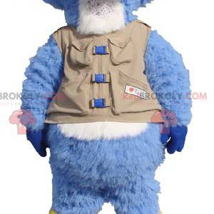 Blue and white beaver mascot with a vest and boots -