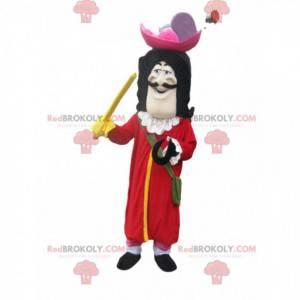 Captain Hook Maskottchen mit einer großen roten Jacke -