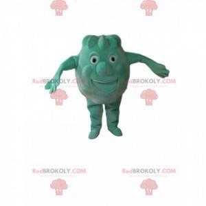 Kleines rundes und lustiges grünes Monstermaskottchen -