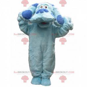 Großes blaues Hundemaskottchen mit einem traurigen Blick -