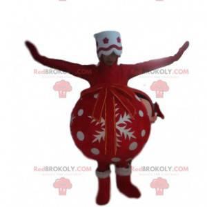Czerwona i biała piłka maskotka Boże Narodzenie - Redbrokoly.com