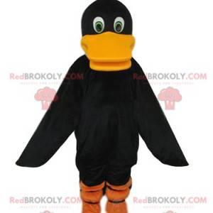 Mascotte zwarte eend met een grote oranje snavel -
