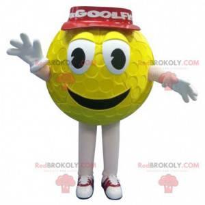 Gelbes Golfballmaskottchen mit roter Kappe - Redbrokoly.com