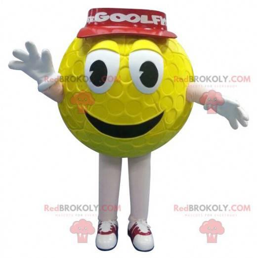 Gul golfballmaskot med rød hette - Redbrokoly.com