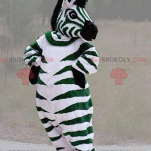 Mascote zebra gigante preto e branco verde - Redbrokoly.com