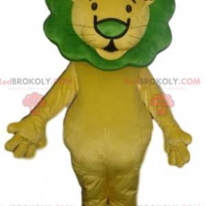 Maskot žlutý lev se zelenou hřívou - Redbrokoly.com