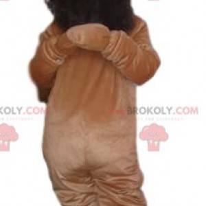 Bardzo dumna maskotka brązowego lwa z piękną grzywą -