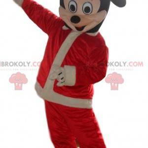 Mickey-Mouse-Maskottchen, verkleidet als Weihnachtsmann -