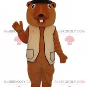 Beaver mascot with a beige vest and a black hat - Redbrokoly.com