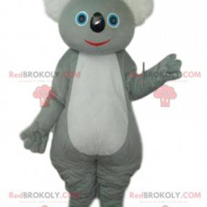 Mascote coala cinza e branco. Fantasia de coala - Redbrokoly.com