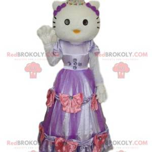 Mascotte Hello Kitty met een paarse en roze jurk -