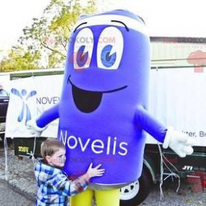 Giant blue can mascot - Redbrokoly.com