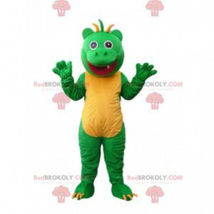 Hilarious green and yellow little monster mascot with bangs on