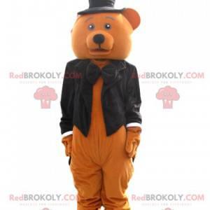 Maskotka niedźwiedź brunatny z czarnym frakiem - Redbrokoly.com