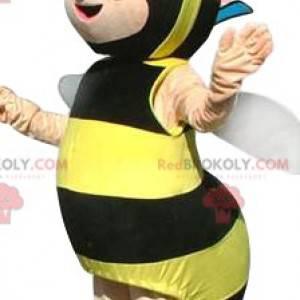 Mascote abelha com gravata borboleta roxa de bolinhas -