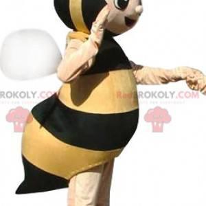 Mascote de abelha muito feliz. Fantasia de abelha -
