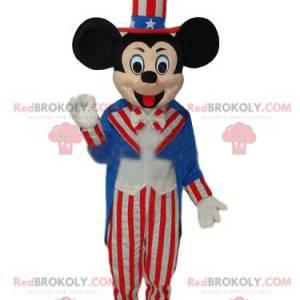 Mickey Maskottchen in amerikanischer Festkleidung -