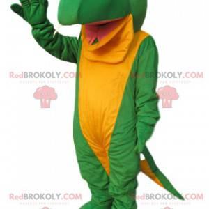Maskott stor grønn og gul firfirsle. Lizard kostyme -