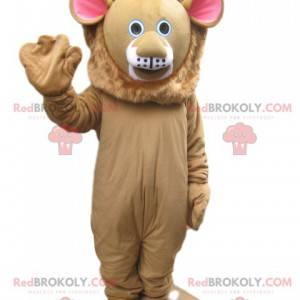 Béžový maskot lva s roztomilým obličejem - Redbrokoly.com
