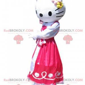 Hello Kitty Maskottchen mit einem pinkfarbenen Satinkleid -