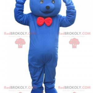 Blå bjørnemaskot med rød sløyfe - Redbrokoly.com