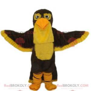 Braunes und gelbes Adlermaskottchen. Adler Kostüm -