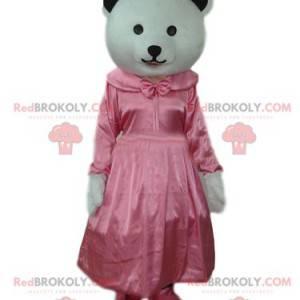 Maskot bílého medvěda s růžovými saténovými šaty -