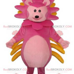 Very original pink lion cub mascot with a colorful mane -
