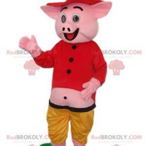 Rosa Schweinemaskottchen mit einem Hemd und einem Strohhut -