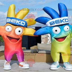 2 maskoti velmi barevných obřích rukou - Redbrokoly.com
