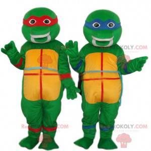 Dupla de mascote de tartarugas ninja, Rafael e Leonardo -