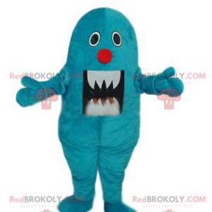 Maskottchen kleines blaues Monster mit großen Zähnen -