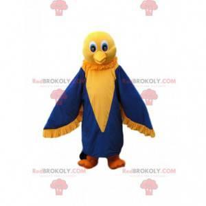 Maskot roztomilý malý žlutý a modrý pták - Redbrokoly.com