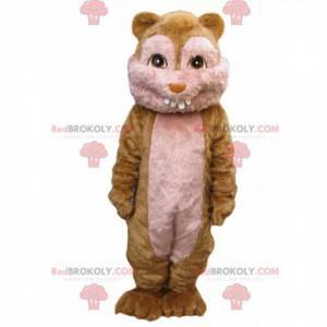Mascote hamster fofo demais com quatro dentes pequenos -
