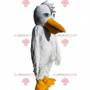 Pelikan-Maskottchen mit einem Hauch und schönen blauen Augen -