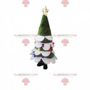 Mascota de abeto con una estrella dorada y bolas de Navidad. -
