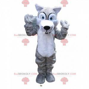 Gruseliges graues Wolfsmaskottchen mit großen Zähnen -