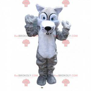 Maskot strašidelného šedého vlka s velkými zuby - Redbrokoly.com