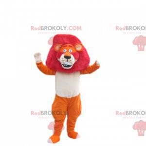 Orange lion mascot with a magnificent fuchsia mane -