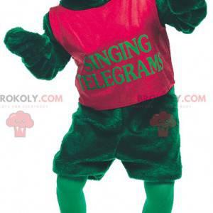 Green frog mascot with blue eyes - Redbrokoly.com