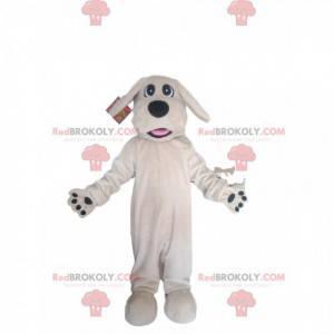 bílý pes maskot s velkou černou tlamou - Redbrokoly.com
