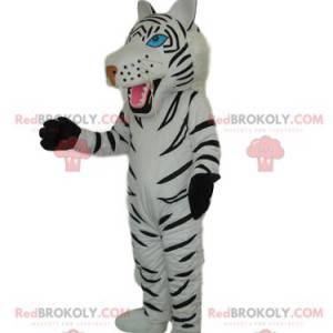 Maskot bílý tygr s krásnými modrými očima - Redbrokoly.com