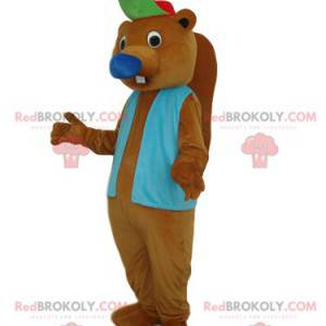 Mascote castor marrom com jaqueta azul e boné - Redbrokoly.com